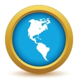 Gold continent America icon vector image