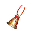 golden christmas bell with a red bow on a white vector image