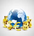 golden world currency symbols moving around world vector image