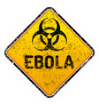 grunge ebola virus biohazard warning sign vector image vector image