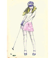 hand drawing - golf player vector image vector image