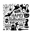 hand drawn halloween doodles print with lettering vector image