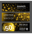 Horizontal Golden Dust Banners Set Discount vector image