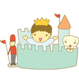 Little prince with his toy kingdom vector image vector image