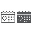 love calendar line and glyph icon valentine and vector image vector image