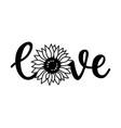 love print for t-shirt love sunflower lettering vector image