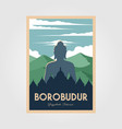 magnificent borobudur temple vintage poster vector image