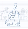 Man riding on scooter vector image vector image