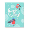 merry christmas and happy holidays 70s postcard vector image vector image