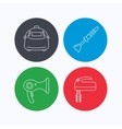 Multicooker hair-dryer and blender icons vector image vector image