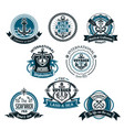 nautical and marine icons set vector image vector image