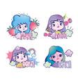 pop art cartoon girls fruits clouds rainbow comic vector image