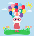 rabbit girl in a red dress and glasses keeps vector image vector image
