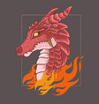 red dragon head with angry face vector image