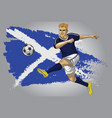 scotland soccer player with flag as a background vector image vector image