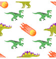 seamless pattern with dinosaurs vector image