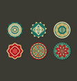 set ethnic round rugs with geometric ornament vector image vector image
