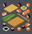 set icon sushi nigiri and rolls served vector image
