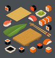 set icon sushi nigiri and rolls served with vector image vector image