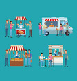 set of food and drink stands vector image