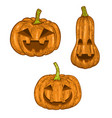 set of scary halloween pumpkin isolated on white vector image vector image