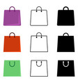 set shopping bag icons flat outline and vector image vector image