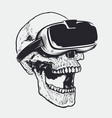 skull in vr glasses vector image vector image