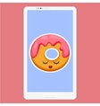 Smartphone with Donut in flat cartoon style vector image vector image