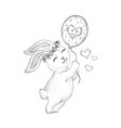 spring bunny rabbit flying on air balloon cute vector image