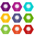 sunny icons set 9 vector image vector image