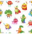 superhero fruits fruity cartoon character vector image