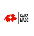 swiss made switzerland map flag seal icon vector image vector image