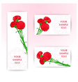 Three card with bouquet of red cloves vector image vector image