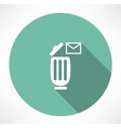trash can with a message icon vector image vector image