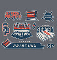 vintage serigraphy colorful elements collection vector image vector image