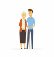 volunteer with a senior woman - cartoon people vector image
