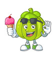 with ice cream green pumpkin isolated on white vector image vector image