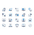 work from home flat icons vector image vector image