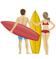 young couple standing with their surfboards vector image vector image