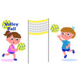 young girls playing volleyball vector image