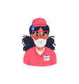 young nurse in pink scrubs holding sign with stay vector image vector image