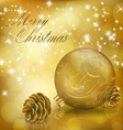 Golden Xmas greeting card vector image