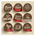 Casks with alcohol emblems vector image
