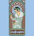 art nouveau santa girl card happy new year vector image vector image