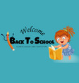back to school horizontal banner logo with vector image vector image