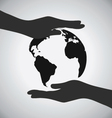Black Earth On Hands Icon Save The Earth Concept vector image vector image