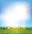 blue sky and grass landscape 2001 vector image vector image