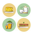 breakfast food icons vector image