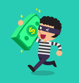 Cartoon a thief carrying big money stack vector image vector image