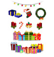 christmas set of cute cartoon festive attributes vector image vector image